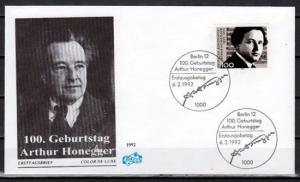 Germany, Scott cat. 1736. Composer A. Honegger issue. First day cover.