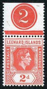 Leeward Is SG104 2d scarlet Plate Number example U/M