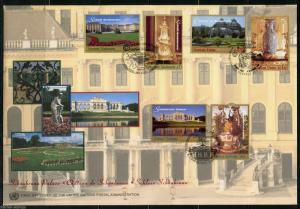 UNITED NATIONS 1998 SCHONBRUNN PALACE  COMBINATION NY, GENEVA & VIENNA FDC