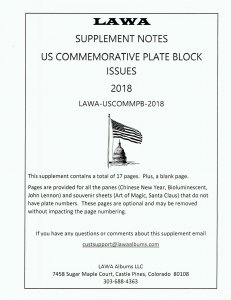 2018 US COMMEMORATIVE PLATE BLOCKS  SUPPLEMENT – LAWA Album Pages