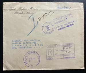 1941 Chiquimula Guatemala Commercial Cover To Buenos Aires Argentina