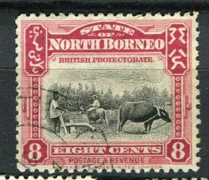 NORTH BORNEO; 1925 early Pictorial issue fine used 8c. value + Postal cancel