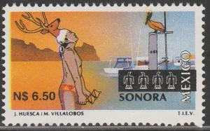 MEXICO 1805, N$6.50 Tourism Sonora, deer dance, pelican. Mint, NH F-VF.