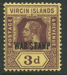 Virgin Is.- Scott MR2 - KGV War Stamp -1916-17 - MNLH - Single 3p Stamp