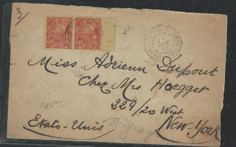 NEW CALEDONIA (P2708B) 1923 5C PR ON COVER TO USA