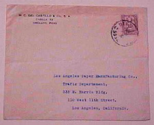 PERU DUE USED FOR POSTAGE #J50B CHICLAYO MAY 1929 TO LOS ANGELES