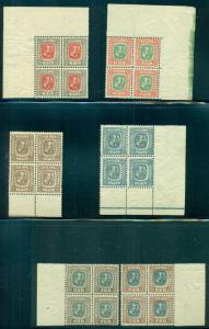 ICELAND #71/85 (76/90), Two Kings set Blocks of 4 NH, Facit $3,600.00