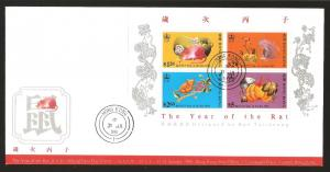 Hong Kong 1996 Lunar New Year of the Rat M/S on FDC