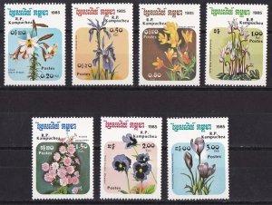Cambodia 1985  Flowers set MNH**