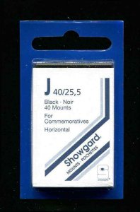 Showgard Black Stamp Mounts J PreCut  (40 count)  Standard Commemorative Size