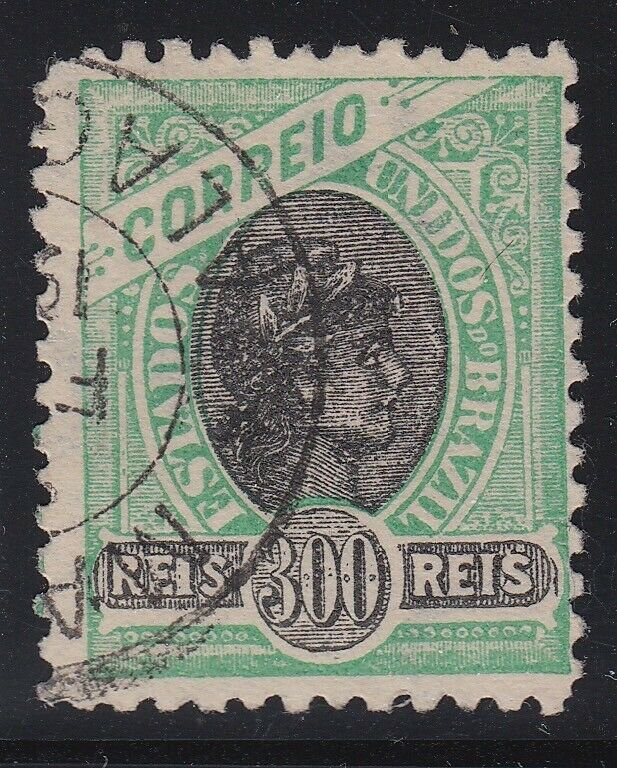 Brazil 1905 300r Green & Black Liberty Wmk.97 Used. Scott 171b