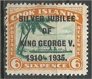 COOK ISLANDS , 1935, MH 6p, Silver Jubilee Scott 100