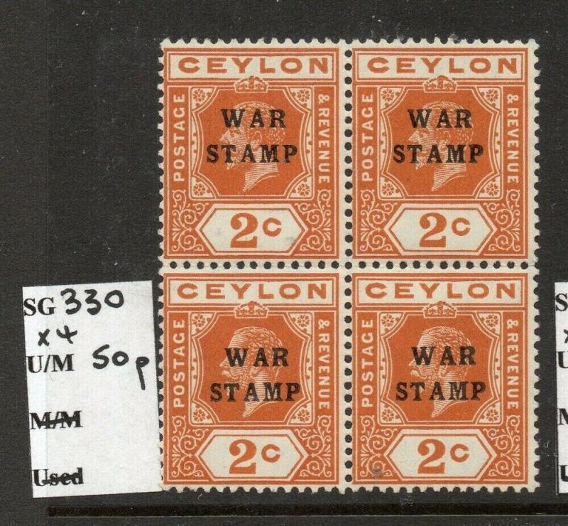 Ceylon 1918 Early Issue Fine Mint MNH unmounted 2c. Block War Optd 303231