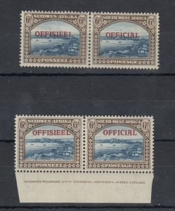 South West Africa 1945 6d Official Pairs x 2 SG022 MNH J8408