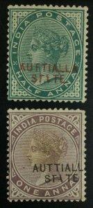 MOMEN: INDIA PATIALLA SG #7a,11b AUTTIALLA 1885 MINT OG H £158 LOT #62299