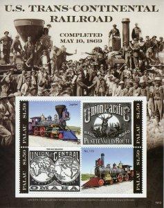 Palau 2019 MNH US Trans-Continental Railroad 4v M/S Railways Trains Rail Stamps