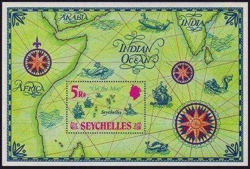Seychelles 284 Mnh Michel Bl 2 Map Showing Location Of