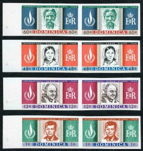 DOMINICA SG209 211/13 1968 Human Rights Year 1c 12c 48c and 60c imperf pairs