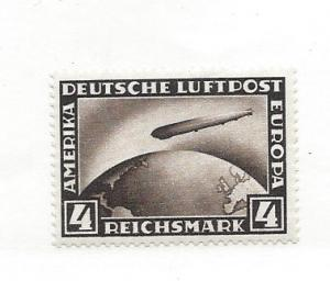 Germany, C37, Zeppelin Crossing Ocean VF+ Single, MNH
