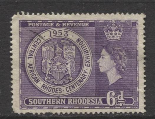 Southern Rhodesia- Scott 79 - Rhodes Centenary - 1953 - Used - Single 6d Stamp