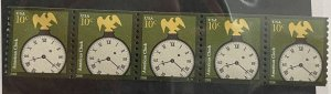 US 2006 strip of 5 plate #S1111 10c American Clock 3762 MNH OG
