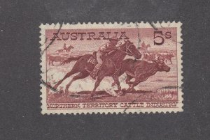 AUSTRALIA # 331 VF-5sh ABORIGINAL STOCKMAN ON THIN PAPER(RARE) CAT VAL $100