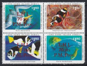 LH18a) LHI Postmaster Prov. O/P 70 years. Anniversary Marine Park Issue