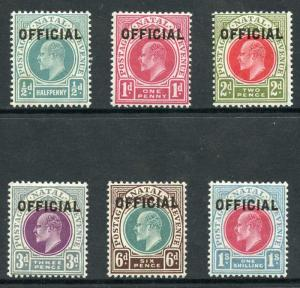 Natal SGO1/O6 KEVII Set of 6 Opt OFFICIAL (1/2d tone spot) M/M