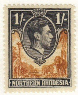 Northern Rhodesia #40 mint hinged 1/- king