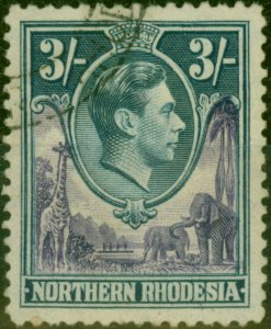 Northern Rhodesia 1938 3s Violet & Blue SG42 Fine Used