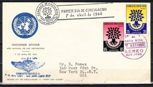 Costa Rica, Scott cat. C290-C291. World Refugee Year issue. First day cover. ^