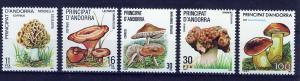 ANDORRA SPANISH 1983-1987 MNH SC.155+165+169+172+181 Mushrooms