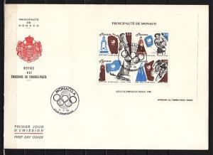 Monaco, Scott cat. 1640. Seoul Olympics Sheet of 4. Large First day cover.