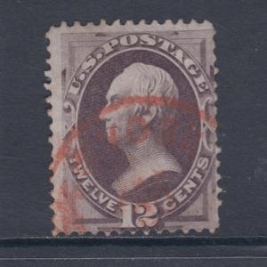 US Sc 151 used. 1870 12c Henry Clay, red New York cancel, sound.