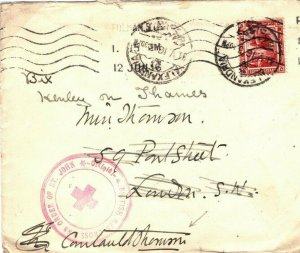 EGYPT WW1 Cover BRITISH RED CROSS Head SIGNED London 1916 {samwells-covers}SW10