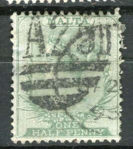 MALTA; 1883 early classic QV Crown CA issue fine used 1/2d. value