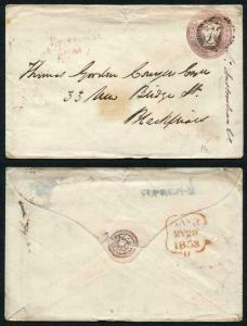 EP5d QV 1d Pink Envelope Size F SP2 Paper Used London Cancel