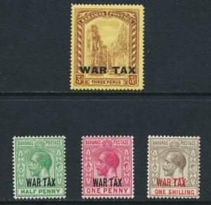 BAHAMAS 1918 WAR TAX SET, VF MLH SG#96-9 CAT£20 $26 (SEE BELOW)