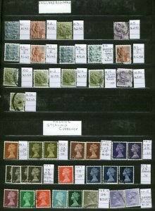Great Britain Machin Collection In Stock Book Over 500 Stamps with ID Tags Used