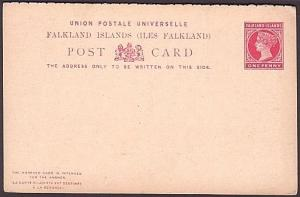 FALKLAND IS QV 1d+1d reply postcard unused.................................35294