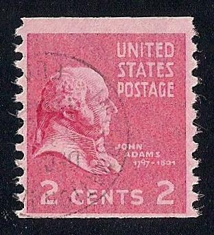 841 2 Cent SUPER CANCEL John Adams Coil Stamp Used F