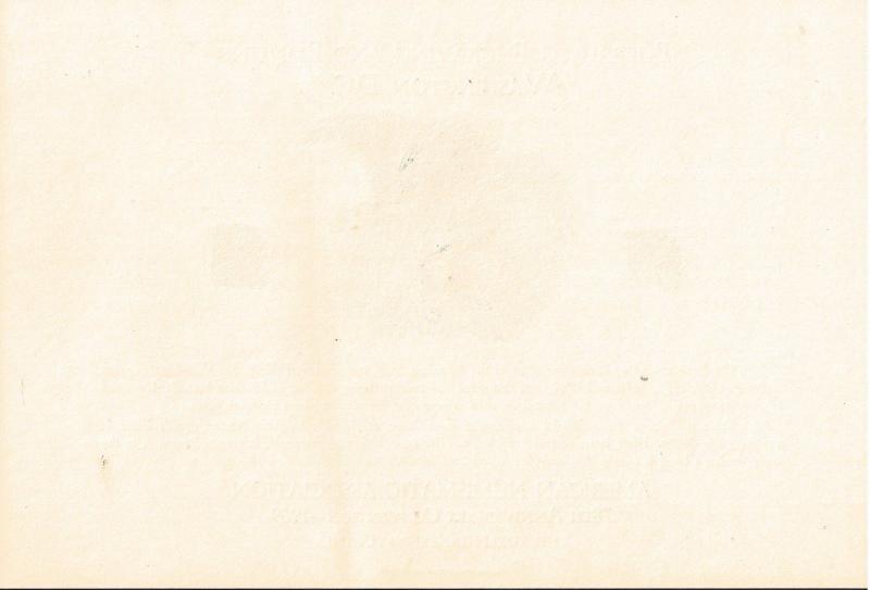 {BJ Stamps} BEP B 2 Souvenir Card, ANA 1969, Jackass note, unused w/envelope
