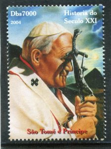 Sao Tome & Principe 2004 POPE JOHN PAUL II 1 value Perforated Mint (NH)