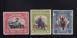 North Borneo Scott # 160 - 162 VF OG mint LH nice color scv $ 120 ! see pic !