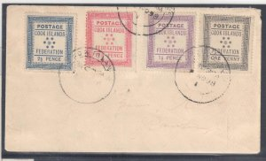 Cook Islands #1 to 4 on rare cover C$1475,00