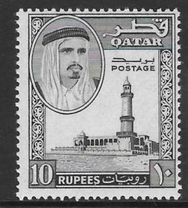 QATAR SG37 1961 10r BLACK MNH