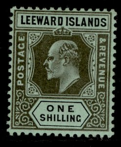 LEEWARD ISLANDS SG43, 1s black/green, LH MINT.