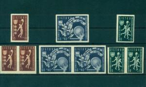 Basketball Lithuania 1939 stamps set of 3 pairs with missing perforation UNIQUE