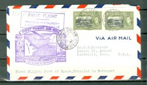 TRINIDAD & TOBAGO  DEC 7 1941  #58x2 on 1st FLIGHT AIRMAIL COVER to US