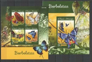 ST1576 2016 S. TOME & PRINCIPE BUTTERFLIES FAUNA INSECTS 1KB+1BL MNH
